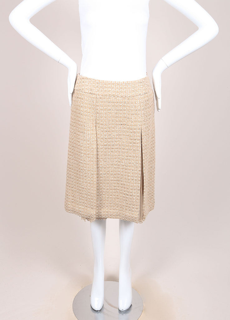 Chanel Tan, Gold, and Cream Wool and Alpaca Tweed and Chiffon Sequin Pleated Skirt Frontview