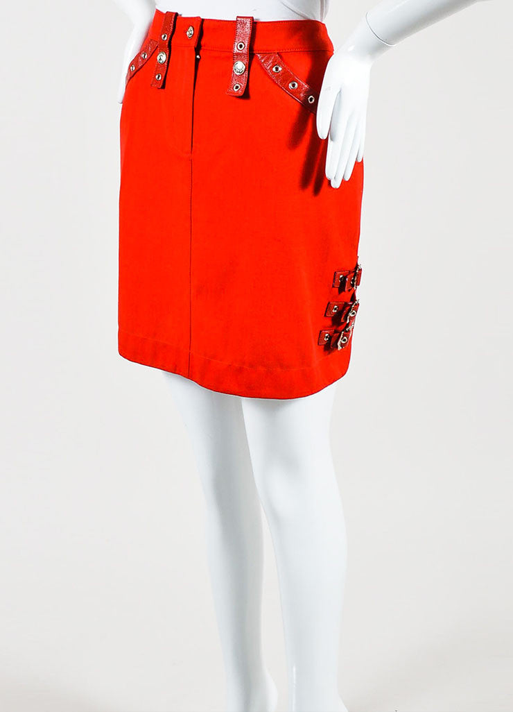 Red Christian Dior Cotton Leather Straps Mini Skirt Sideview