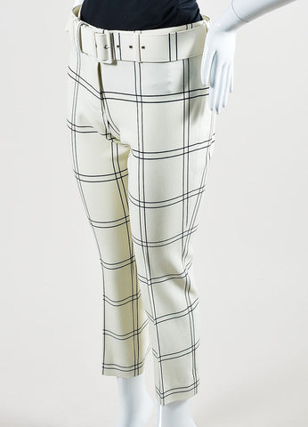 "Cream and Black Derek Lam Wool ""Windowpane Check"" Cropped Trousers Sideview"