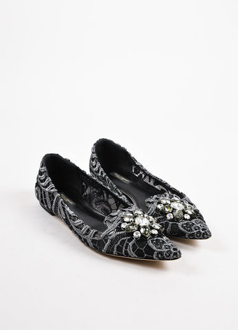 "Dolce & Gabbana Black Silver Lace Embellished ""Vally"" Loafer Flats Front"