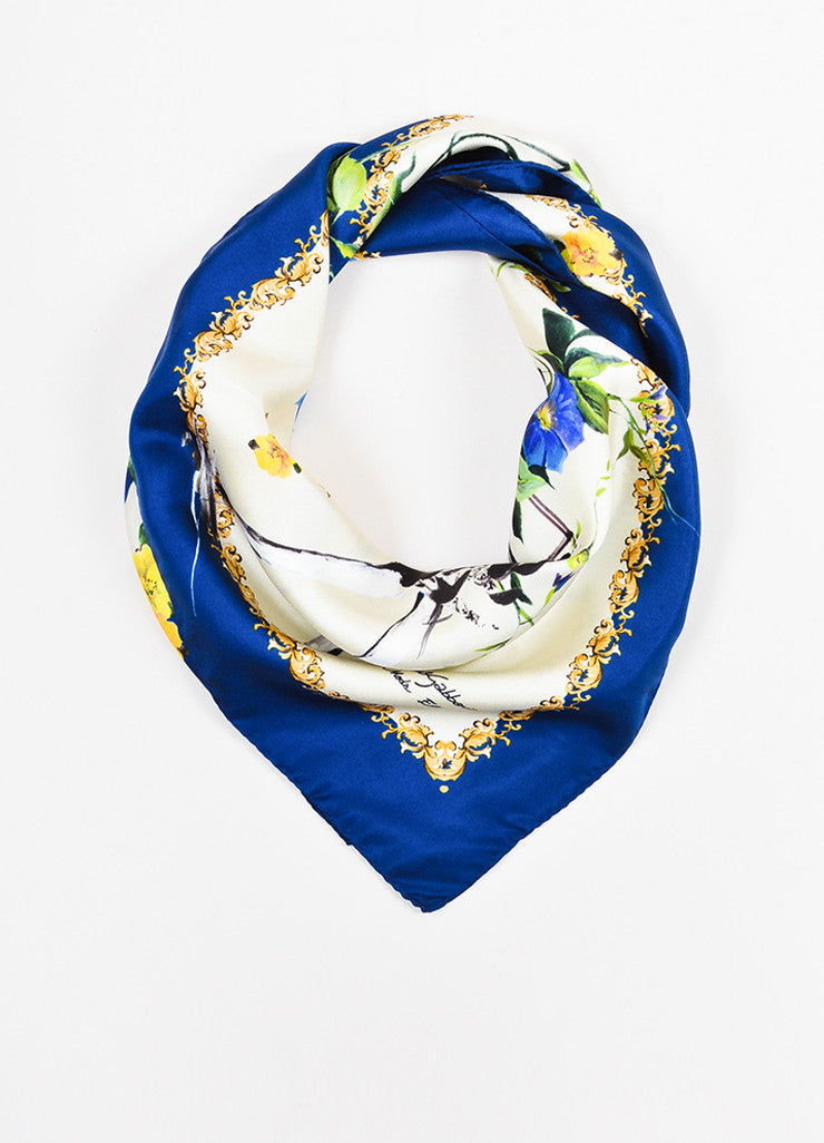 "¥éËDolce & Gabbana Blue, Yellow, and Cream Silk ""Alta Moda"" Floral Square Scarf Frontview"