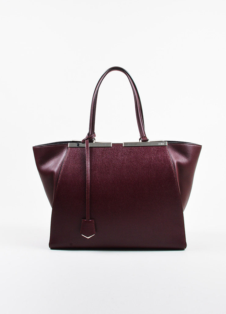 "Fendi Maroon Textured Leather Top Handle ""3 Jours"" Medium Trapeze Tote Bag Frontview"