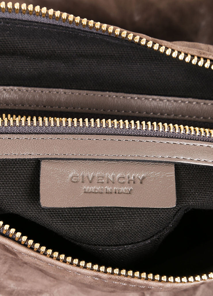 "Givenchy $1940 Gray Washed Leather ""Pepe Pandora"" Medium Messenger Bag Tag Detail"