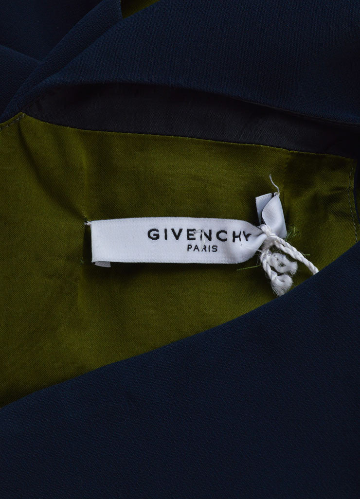 Givenchy Navy Blue Sleeveless Ruffle Hem Shift Dress Brand