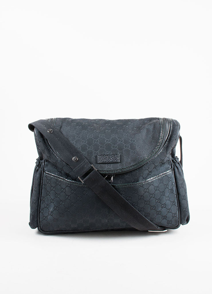 Gucci Black Canvas and Leather Monogram 'GG' Logo Diaper Shoulder Bag Front