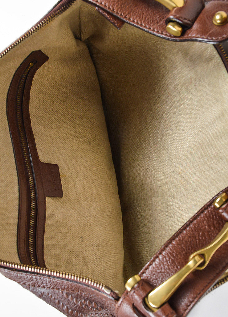 "Brown Gucci Leather Embossed Studded ""Pelham"" Bag Interior"