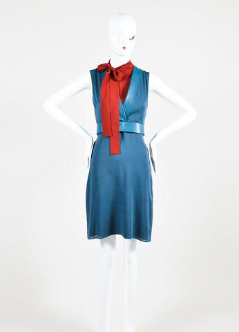 Blue and Red Gucci Silk Leather Trim Layered Bow Belted Dress Frontview