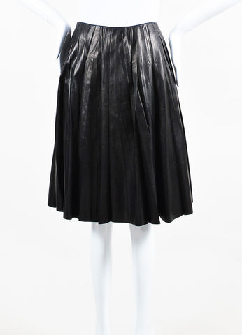 Black Gucci Leather Crinkled Pleated Circle Skirt Front 2