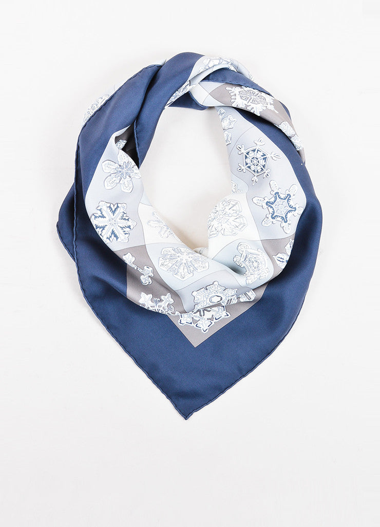"Hermes Blue, Grey, and White Snowflake Print ""Feux de L'Hiver"" 90cm Square Scarf Frontview"