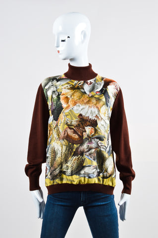 Brown Hermes Wool and Silk Pheasant Long Sleeve Turtleneck Sweater Frontview