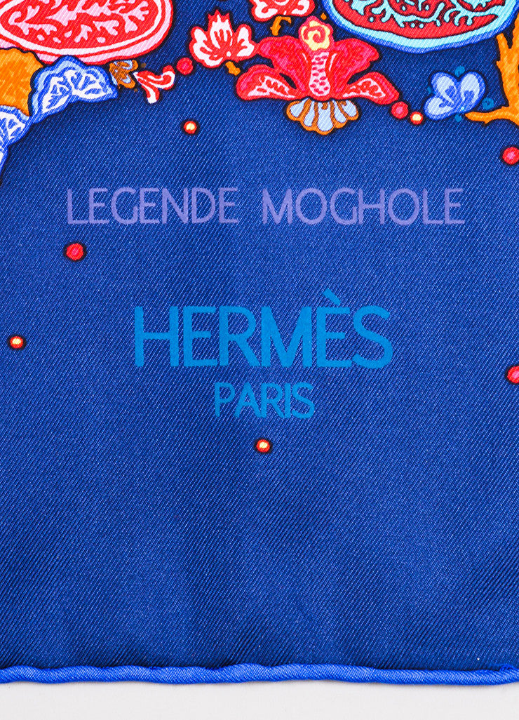 "Hermes Navy Blue and Pink Silk Animal Print ""Legende Moghole"" Square 90cm Scarf Brand"