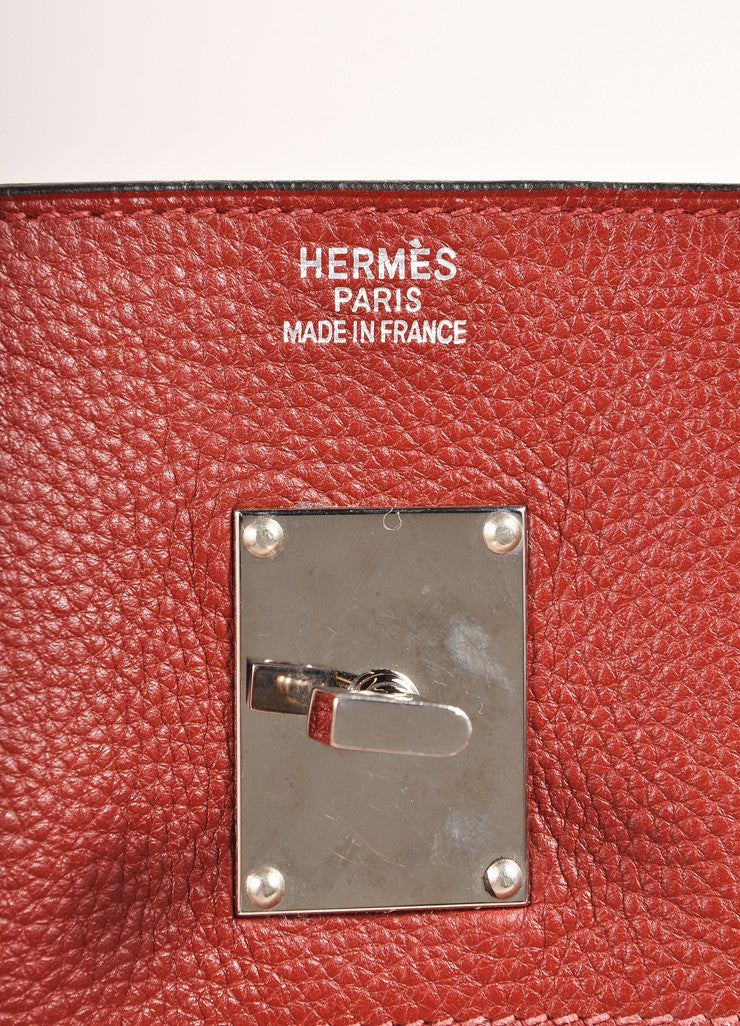 "Hermes Red ""Rouge H"" and Silver Toned Clemence Leather 42cm Shoulder Birkin Bag Brand"