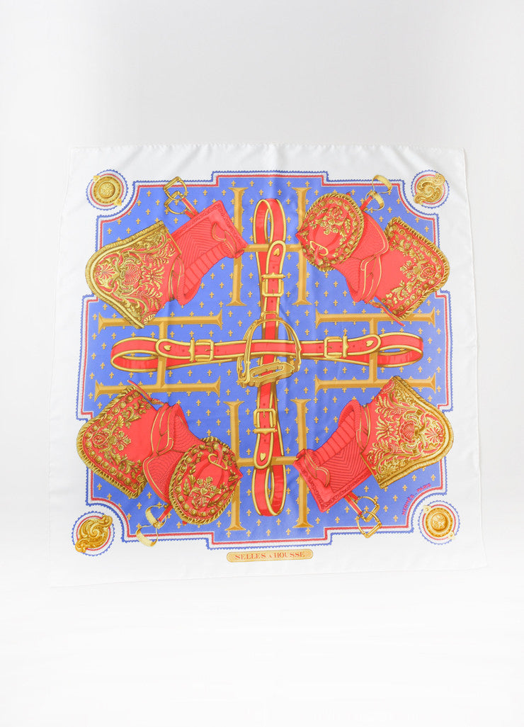 "Hermes Blue and Red Silk Saddle Fleur De Lis ""Selles a Housse"" Scarf Frontview"