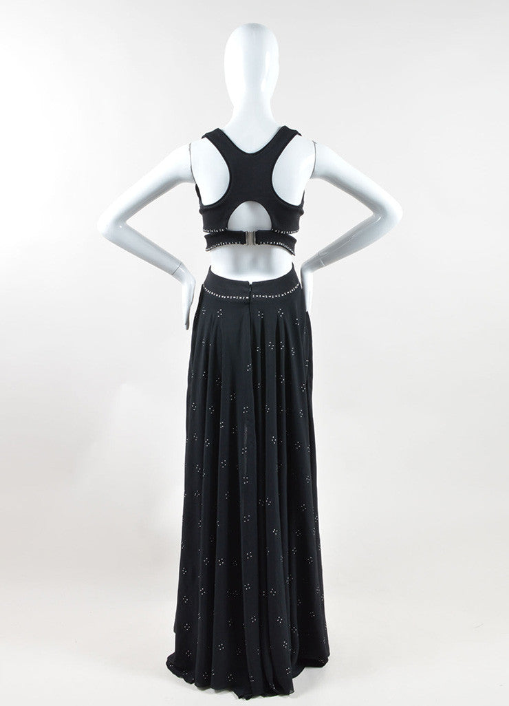 Jay Ahr Black Silver Tone Studded S/L Cut Out High Low Gown Backview