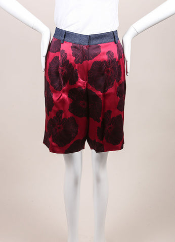 "Jonathan Saunders New With Tags Pink and Navy Satin Floral Print ""Jolita' Shorts Frontview"