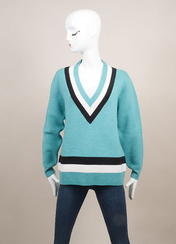 "Jonathan Saunders New With Tags Turquoise Wool Stripe Oversized ""Leanne"" Sweater  Frontview"