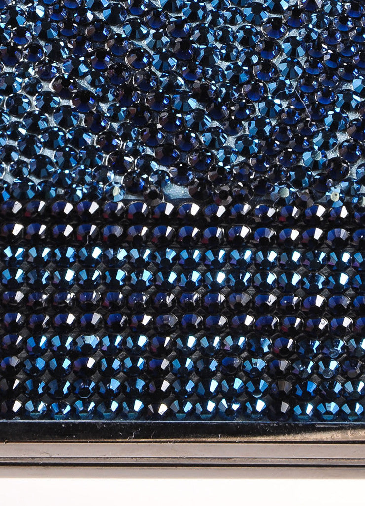 Judith Leiber New With Tags Blue, Purple, and Green Crystal Encrusted Minaudiere Clutch Bag Detail 3