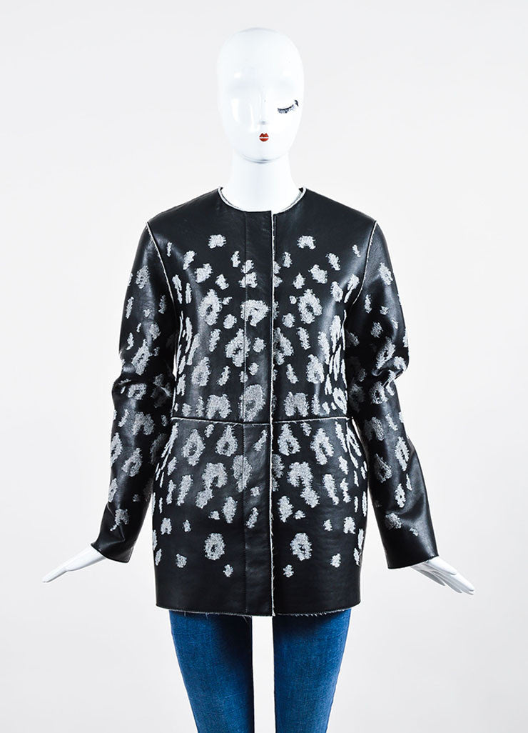 Black and Grey Lanvin Leather and Wool Leopard Spotted Jacket Frontview