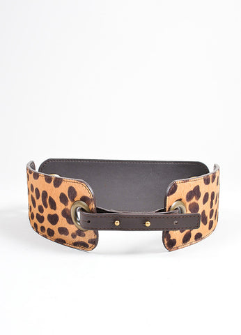 Tan Brown Lanvin Leather Pony Hair Leopard Paneled Belt Front