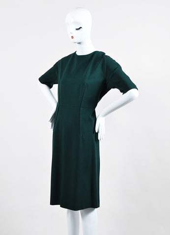 Dark Green Stretch Crepe Les Copains Short Sleeve Shift Dress