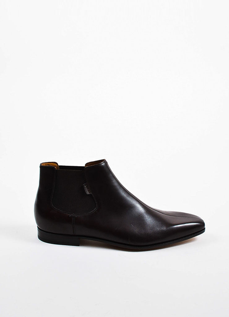 Men's Gucci Brown Leather Square Toe Pull On Chelsea Boots Sideview