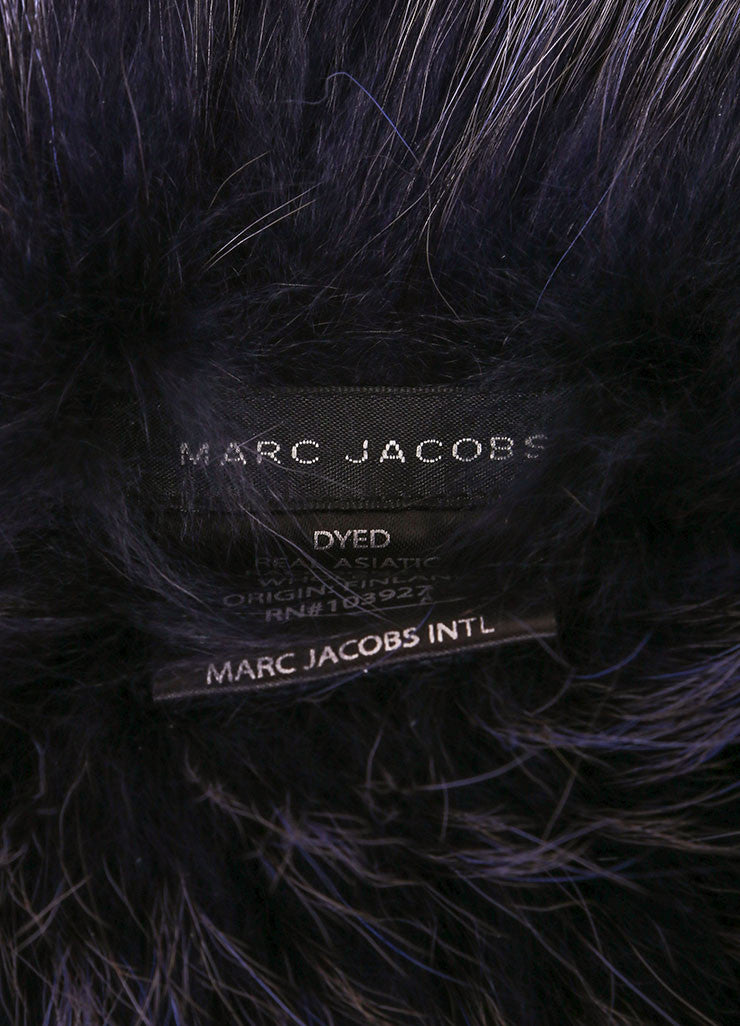 Marc Jacobs Navy Blue Raccoon Fur Scarf Collar Brand