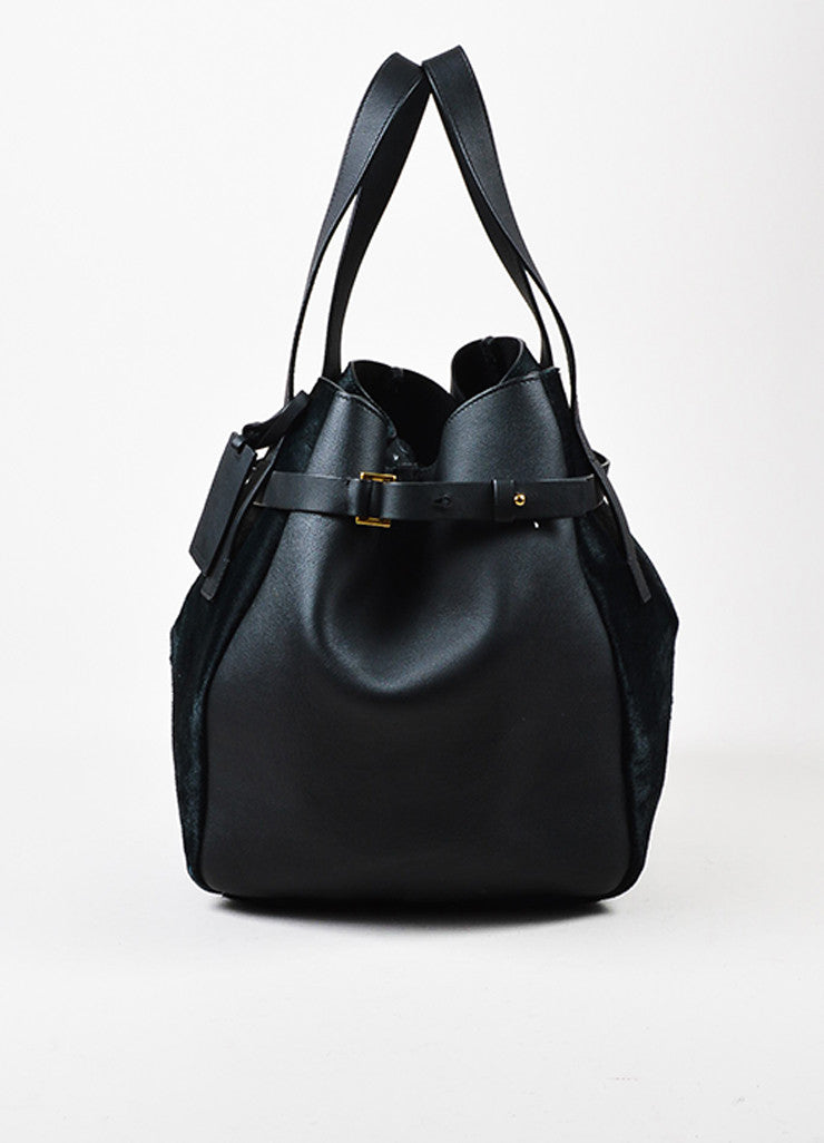 Black and Dark Green Marni Leather and Pony Hair Paneled Shoulder Bucket Bag Frontview