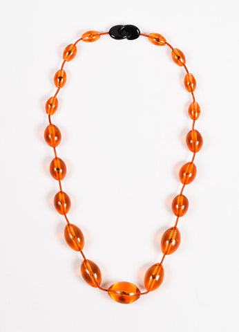 Monies Orange Plastic Chunky Beaded Cord Necklace Frontview