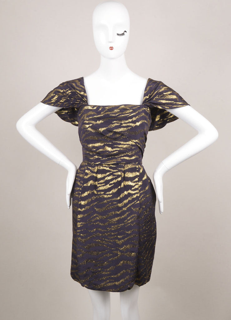 3.1 Phillip Lim Purple and Gold Silk Blend Animal Print Pleated Cap Sleeve Dress Frontview