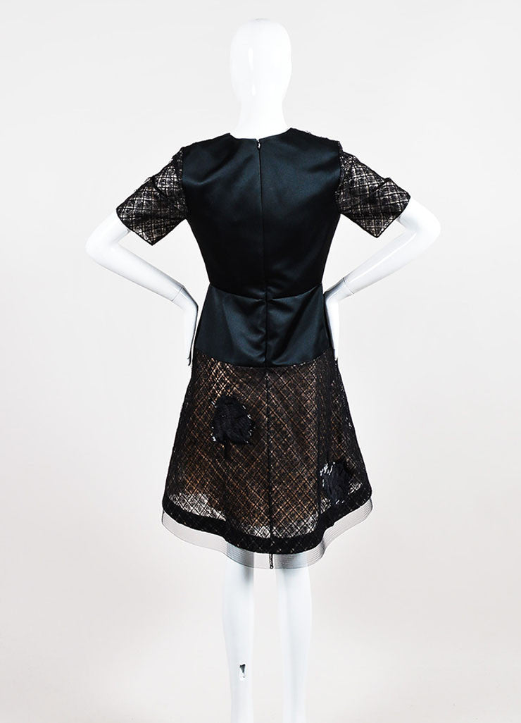 Black Prabal Gurung Silk Lace Beaded Flounce Dress Back