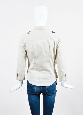 Beige Prada Stretch Cotton Gold Sequin Embellished Long Sleeve Button Up Shirt Backview