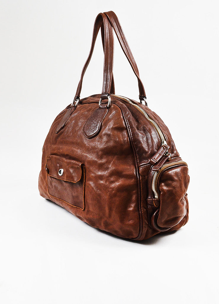 Prada Brown Distressed Leather Silver Toned Zip Multipocket Satchel Shoulder Bag Sideview