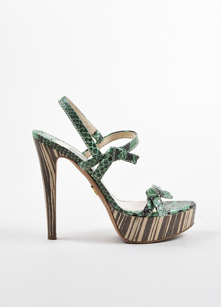 Prada Green, Brown, and Beige Python and Wood Bow Strap Platform Sandals Sideview