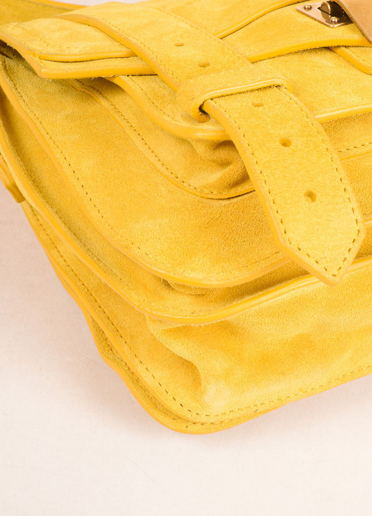 "Proenza Schouler Dark Yellow Suede ""PS1"" Small Messenger Crossbody Bag Detail"