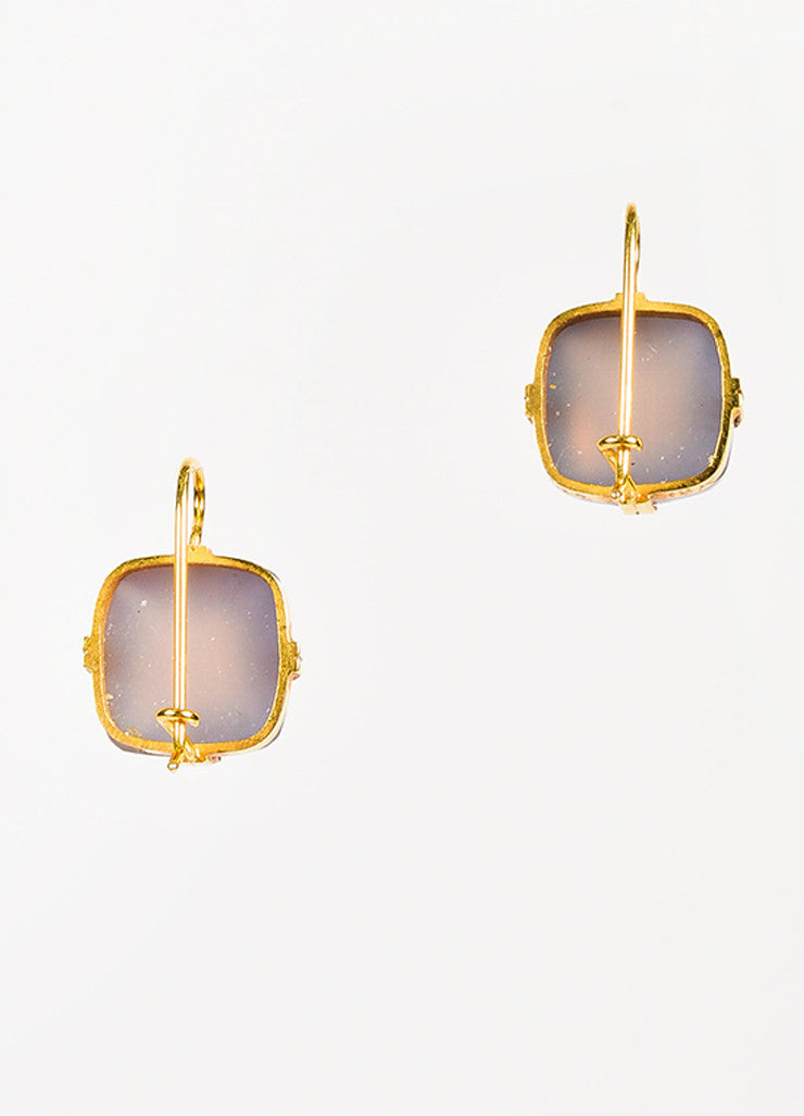 Renee Lewis 18K Yellow Gold Chalcedony Square Drop Earrings Back