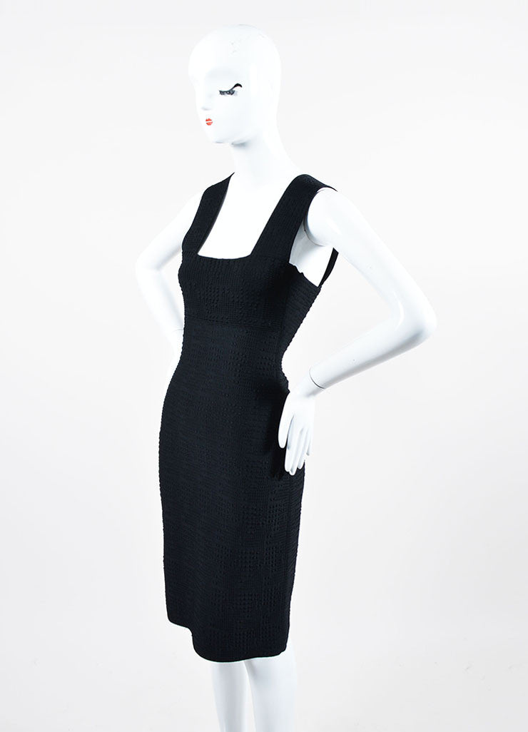 Black Roland Mouret Textured Knit Sleeveless Fitted Bodycon Dress Sideview