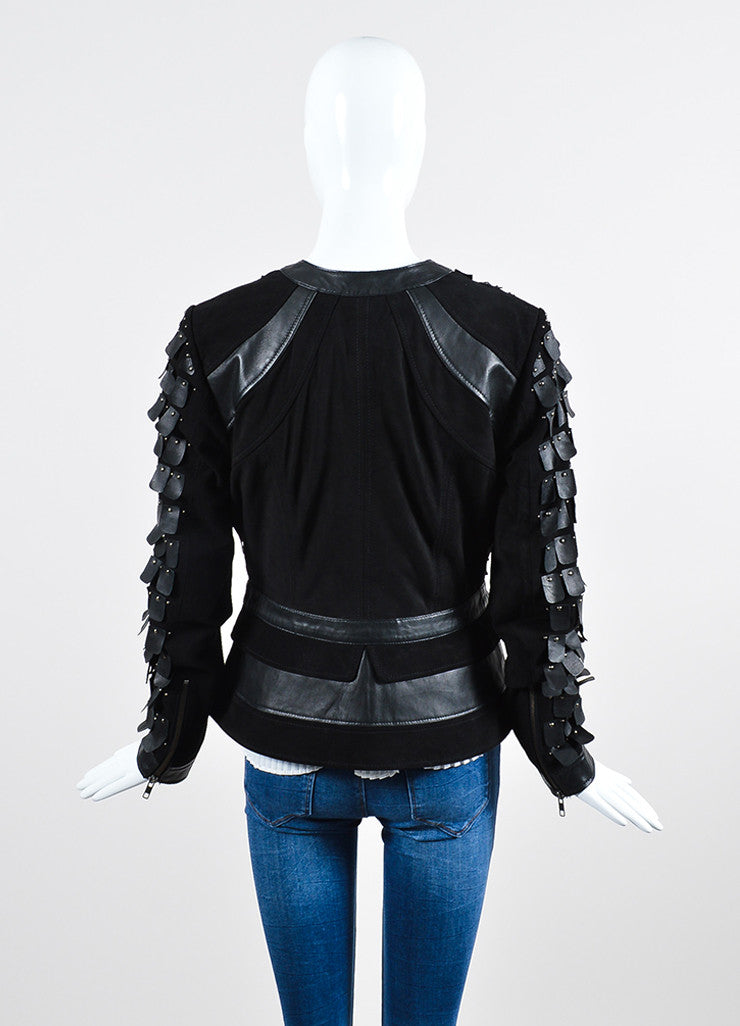"Black Tamara Mellon Suede Leather Studded Tab ""Warrior"" Jacket Backview"