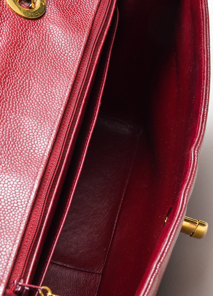 Maroon Chanel Caviar Leather Turnlock Jumbo Flap Bag Interior