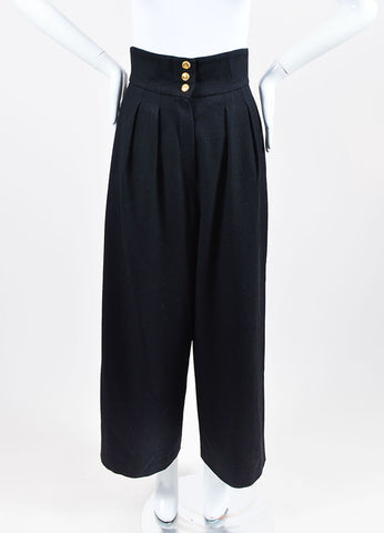 Black Chanel Wool High Waisted Wide Leg Sailor Pants Frontview