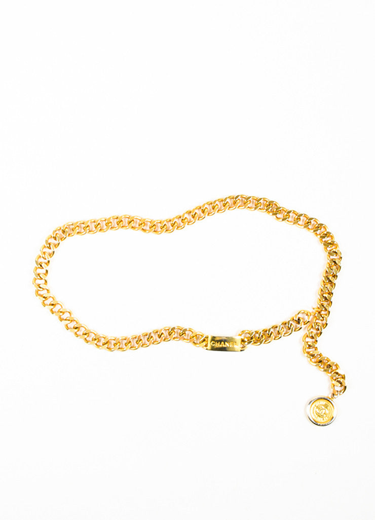 Gold Toned Chanel 'CC' Logo Coin Charm Curb Chain Belt Frontview