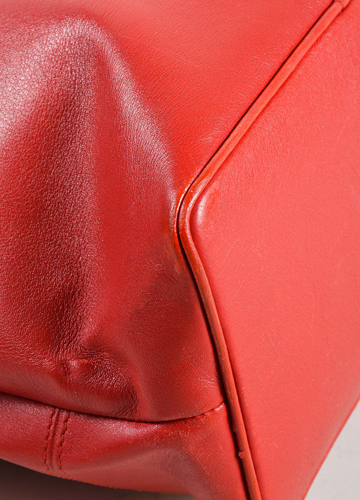 Givenchy Red Leather Gold Toned Studded Bucket Bag Detail