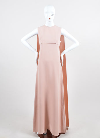 Light Pink Valentino Silk Sleeveless Floor Length Cape Back Evening Gown Frontview