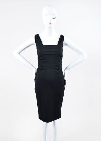 Black Valentino Techno Couture Side Ruched Square Neck Sleeveless Dress Frontview