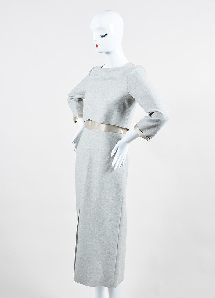 "Wes Gordon Grey and Nude ""Sand"" Satin Panel ""Trompe L'Oeil"" Dress Sideview"