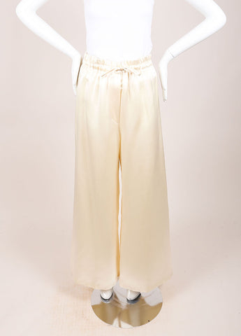 Karl Lagerfeld Cream Silk Wide Leg Pants Frontview
