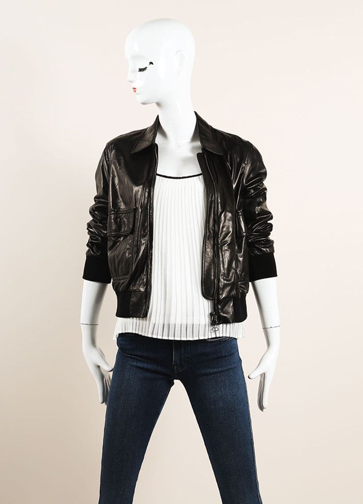 3.1 Phillip Lim Black Leather Bomber Jacket Frontview