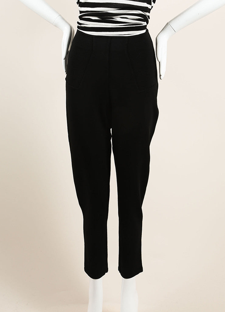 Alaia Black Stretch Knit Ribbed Trim High Waisted Legging Riding Pants Frontview