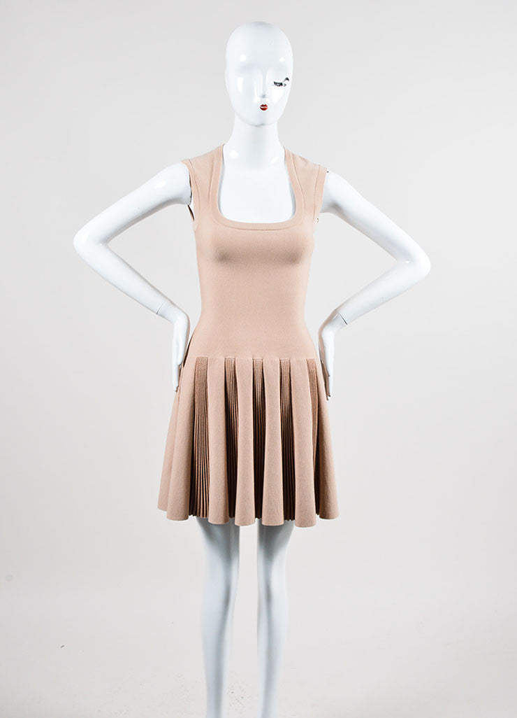 Beige Alaia Stretch Pleated Sleeveless A-Line Flare Dress Frontview