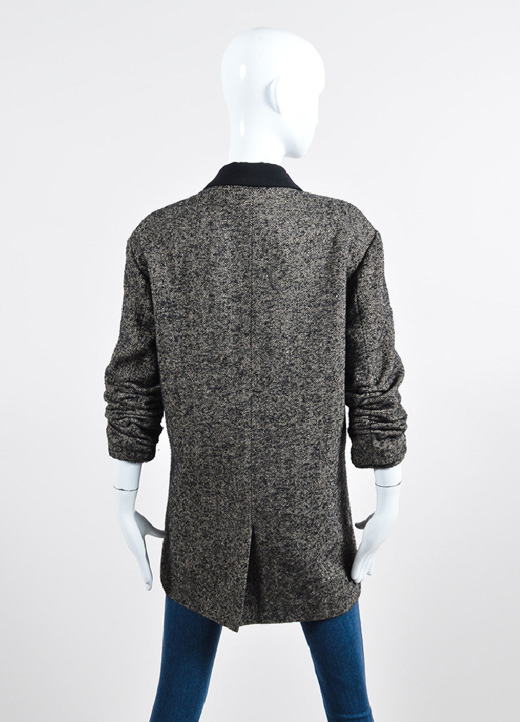 Alexander Wang Black and Grey Wool and Alpaca Blend Herringbone Coat Backview