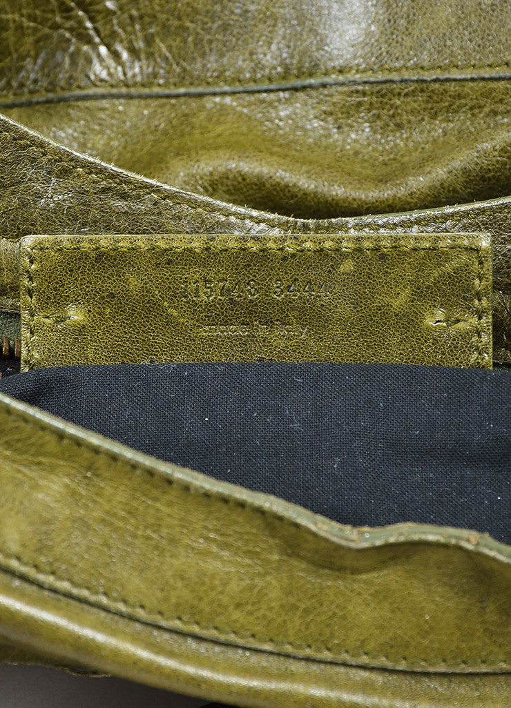"Green Balenciaga ""Motocross Classic City"" Distressed Leather Satchel Bag Serial"